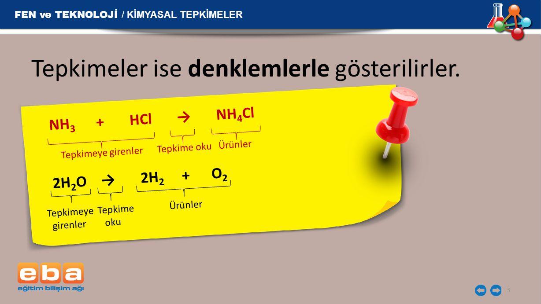 Tepkimeler ise denklemlerle gösterilirler. NH 3 + HCl → NH 4 Cl 3 Tepkimeye girenler Tepkime oku Ürünler Tepkimeye Tepkime Ürünler girenler oku FEN ve