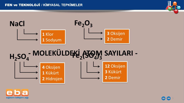 5 NaCl 1 Klor 1 Sodyum Fe 2 O 3 3 Oksijen 2 Demir H 2 SO 4 4 Oksijen 1 Kükürt 2 Hidrojen Fe 2 (SO 4 ) 3 12 Oksijen 3 Kükürt 2 Demir - MOLEKÜLDEKİ ATOM