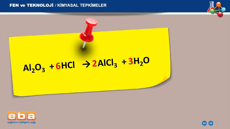 Al 2 O 3 + HCl → AlCl 3 + H 2 O 7 2 3 6 FEN ve TEKNOLOJİ / KİMYASAL TEPKİMELER