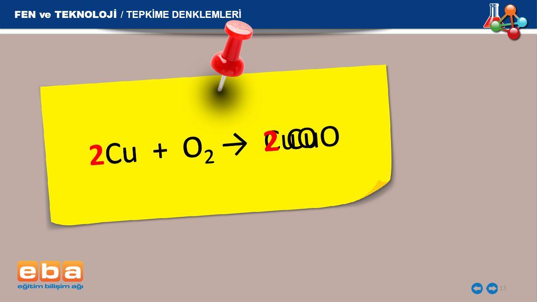 13 Cu + O 2 → CuO Cu + O 2 → 2 CuO 2Cu + O 2 → 2 CuO FEN ve TEKNOLOJİ / TEPKİME DENKLEMLERİ