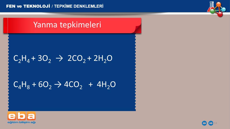 14 FEN ve TEKNOLOJİ / TEPKİME DENKLEMLERİ C 2 H 4 + 3O 2 → 2CO 2 + 2H 2 O  Yanma tepkimeleri C 4 H 8  + 6O 2 → 4CO 2   + 4H 2 O 