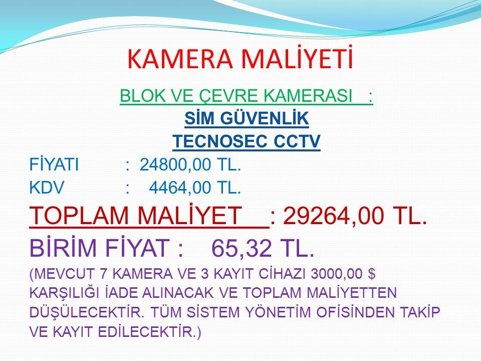 KAMERA MALİYETİ BLOK VE ÇEVRE KAMERASI : SİM GÜVENLİK TECNOSEC CCTV FİYATI : 24800,00 TL. KDV : 4464,00 TL. TOPLAM MALİYET: 29264,00 TL. BİRİM FİYAT :