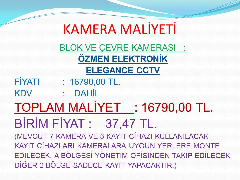 KAMERA MALİYETİ BLOK VE ÇEVRE KAMERASI : ÖZMEN ELEKTRONİK ELEGANCE CCTV FİYATI : 16790,00 TL. KDV : DAHİL TOPLAM MALİYET: 16790,00 TL. BİRİM FİYAT : 3
