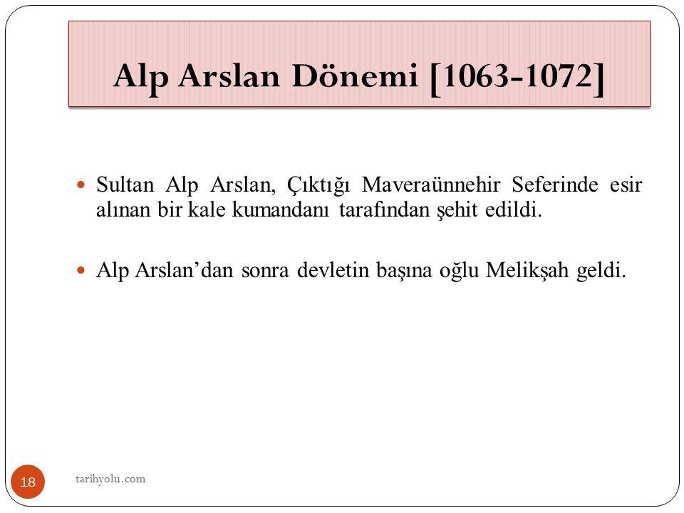 Sultan Alp Arslan, Çıktığı Maveraünnehir Seferinde esir alınan bir kale kumandanı tarafından şehit edildi. Alp Arslan'dan sonra devletin başına oğlu M