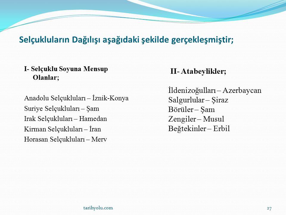 Selçukluların Dağılışı aşağıdaki şekilde gerçekleşmiştir; I- Selçuklu Soyuna Mensup Olanlar; Anadolu Selçukluları – İznik-Konya Suriye Selçukluları –