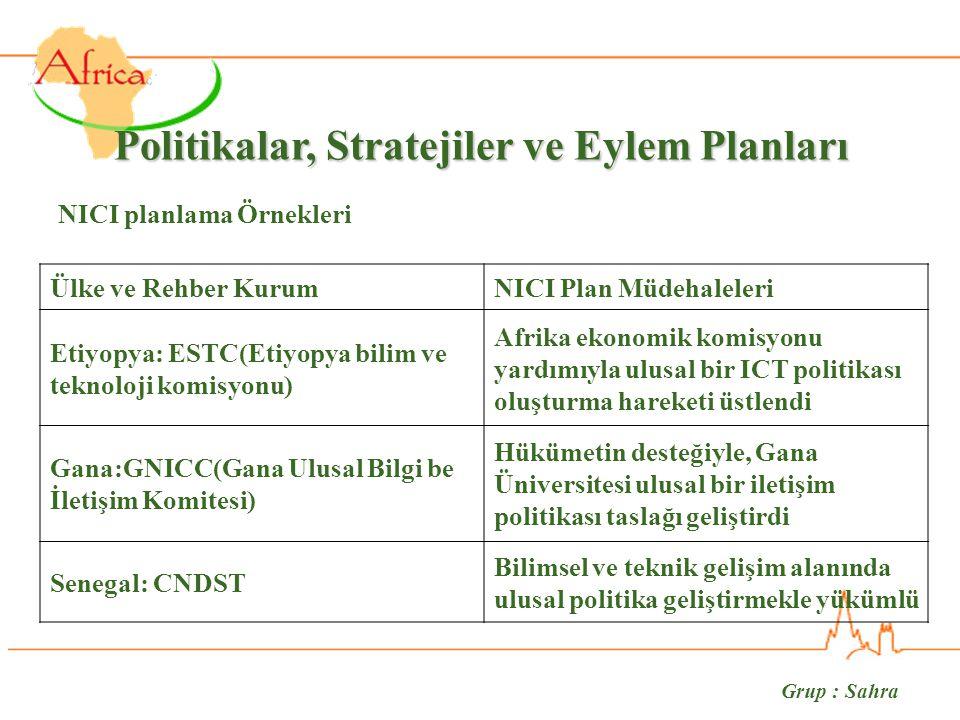 Grup : Sahra Politikalar, Stratejiler ve Eylem Planları Ülke ve Rehber KurumNICI Plan Müdehaleleri Etiyopya: ESTC(Etiyopya bilim ve teknoloji komisyonu) Afrika ekonomik komisyonu yardımıyla ulusal bir ICT politikası oluşturma hareketi üstlendi Gana:GNICC(Gana Ulusal Bilgi be İletişim Komitesi) Hükümetin desteğiyle, Gana Üniversitesi ulusal bir iletişim politikası taslağı geliştirdi Senegal: CNDST Bilimsel ve teknik gelişim alanında ulusal politika geliştirmekle yükümlü NICI planlama Örnekleri
