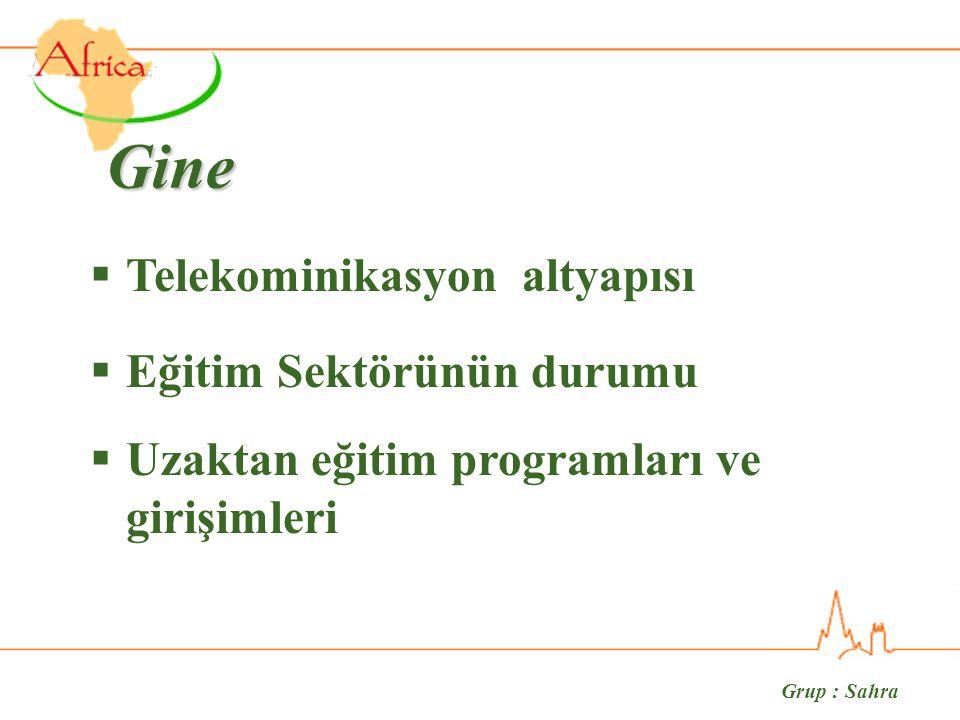Gine  Telekominikasyon altyapısı  Eğitim Sektörünün durumu  Uzaktan eğitim programları ve girişimleri