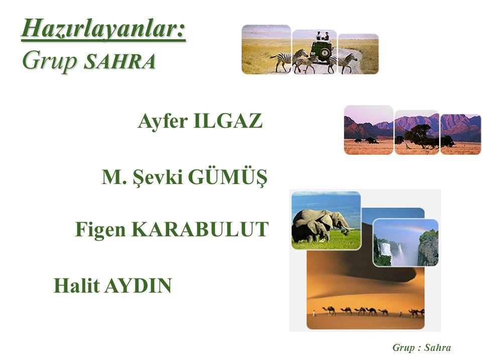 Grup : Sahra Hazırlayanlar: Grup SAHRA Ayfer ILGAZ M. Şevki GÜMÜŞ Halit AYDIN Figen KARABULUT