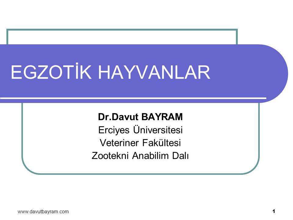 www.davutbayram.com 1 EGZOTİK HAYVANLAR Dr.Davut BAYRAM Erciyes Üniversitesi Veteriner Fakültesi Zootekni Anabilim Dalı