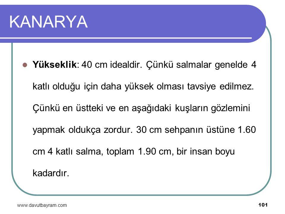 www.davutbayram.com 101 KANARYA Yükseklik: 40 cm idealdir. Çünkü salmalar genelde 4 katlı olduğu için daha yüksek olması tavsiye edilmez. Çünkü en üst