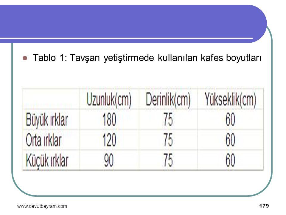 www.davutbayram.com 179 Tablo 1: Tavşan yetiştirmede kullanılan kafes boyutları