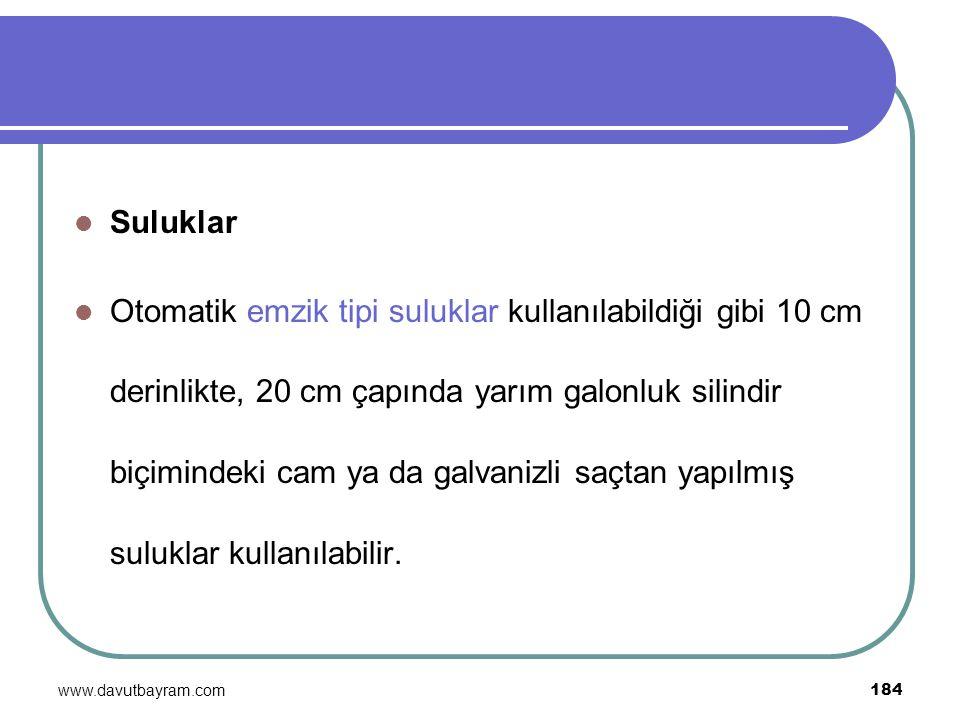 www.davutbayram.com 184 Suluklar Otomatik emzik tipi suluklar kullanılabildiği gibi 10 cm derinlikte, 20 cm çapında yarım galonluk silindir biçimindek