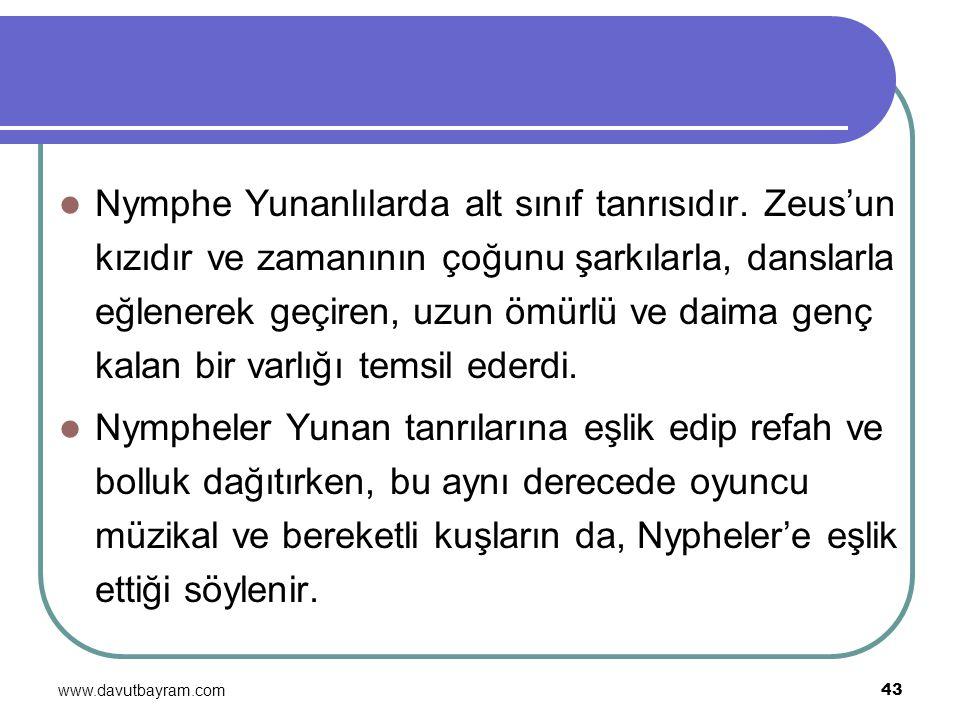 www.davutbayram.com 43 Nymphe Yunanlılarda alt sınıf tanrısıdır. Zeus'un kızıdır ve zamanının çoğunu şarkılarla, danslarla eğlenerek geçiren, uzun ömü