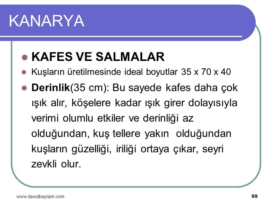 www.davutbayram.com 99 KANARYA KAFES VE SALMALAR Kuşların üretilmesinde ideal boyutlar 35 x 70 x 40 Derinlik(35 cm): Bu sayede kafes daha çok ışık alı