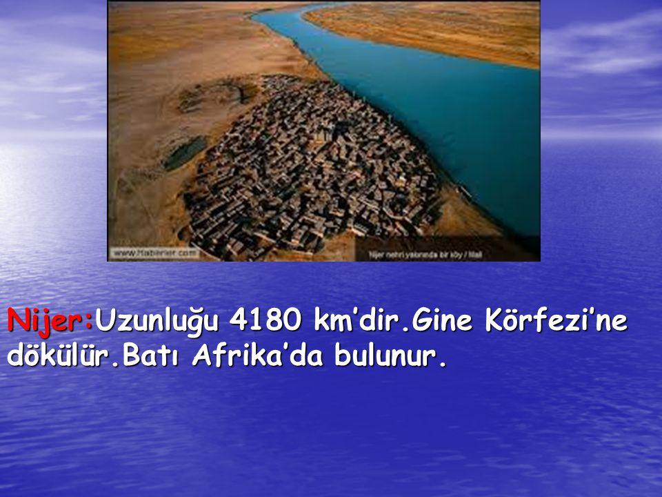 Nijer:Uzunluğu 4180 km'dir.Gine Körfezi'ne dökülür.Batı Afrika'da bulunur.