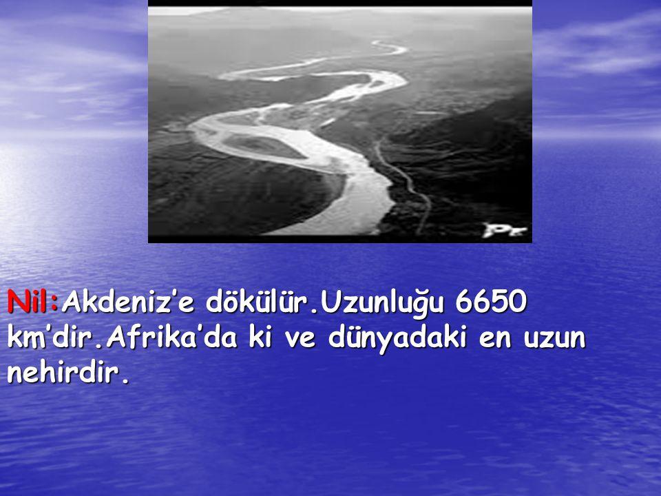 Nil:Akdeniz'e dökülür.Uzunluğu 6650 km'dir.Afrika'da ki ve dünyadaki en uzun nehirdir.