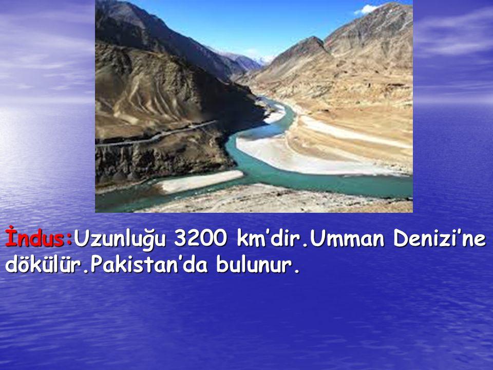 İndus:Uzunluğu 3200 km'dir.Umman Denizi'ne dökülür.Pakistan'da bulunur.