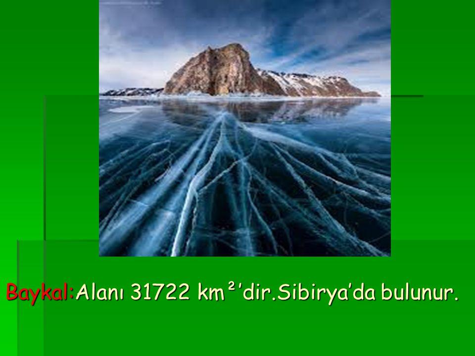 Baykal:Alanı 31722 km²'dir.Sibirya'da bulunur.