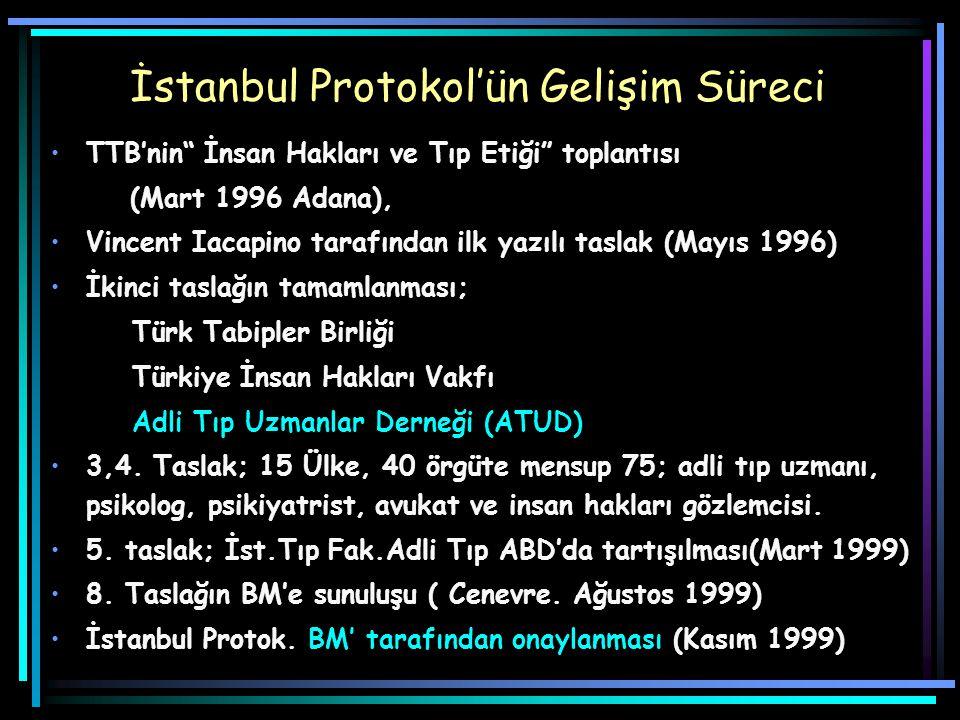 İstanbul Protokol'ün Gelişim Süreci TTB'nin İnsan Hakları ve Tıp Etiği toplantısı (Mart 1996 Adana), Vincent Iacapino tarafından ilk yazılı taslak (Mayıs 1996) İkinci taslağın tamamlanması; Türk Tabipler Birliği Türkiye İnsan Hakları Vakfı Adli Tıp Uzmanlar Derneği (ATUD) 3,4.