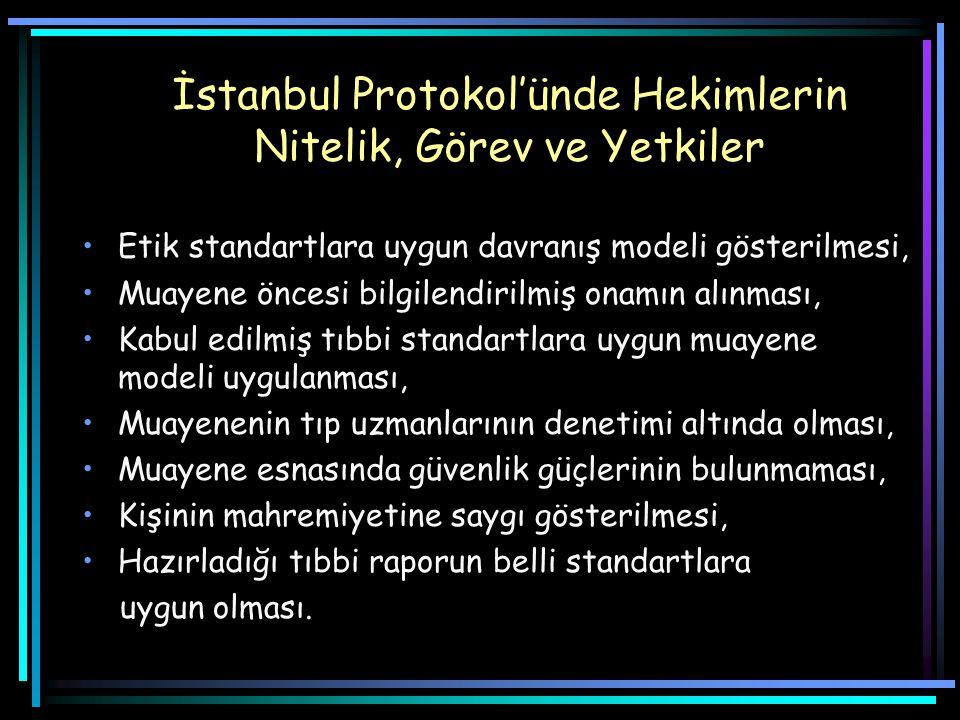 İstanbul Protokol'ünde Hekimlerin Nitelik, Görev ve Yetkiler Etik standartlara uygun davranış modeli gösterilmesi, Muayene öncesi bilgilendirilmiş onamın alınması, Kabul edilmiş tıbbi standartlara uygun muayene modeli uygulanması, Muayenenin tıp uzmanlarının denetimi altında olması, Muayene esnasında güvenlik güçlerinin bulunmaması, Kişinin mahremiyetine saygı gösterilmesi, Hazırladığı tıbbi raporun belli standartlara uygun olması.