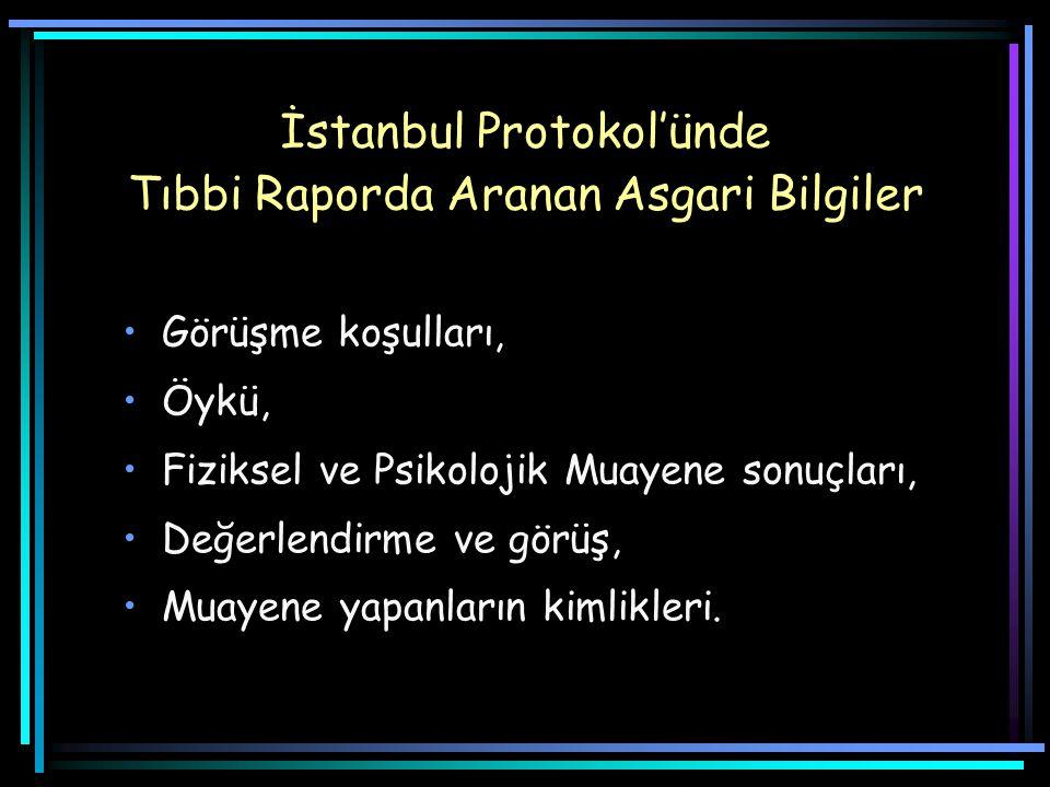 İstanbul Protokol'ünde Tıbbi Raporda Aranan Asgari Bilgiler Görüşme koşulları, Öykü, Fiziksel ve Psikolojik Muayene sonuçları, Değerlendirme ve görüş, Muayene yapanların kimlikleri.