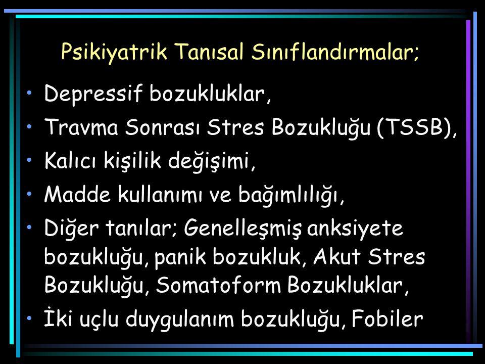 Psikiyatrik Tanısal Sınıflandırmalar; Depressif bozukluklar, Travma Sonrası Stres Bozukluğu (TSSB), Kalıcı kişilik değişimi, Madde kullanımı ve bağımlılığı, Diğer tanılar; Genelleşmiş anksiyete bozukluğu, panik bozukluk, Akut Stres Bozukluğu, Somatoform Bozukluklar, İki uçlu duygulanım bozukluğu, Fobiler