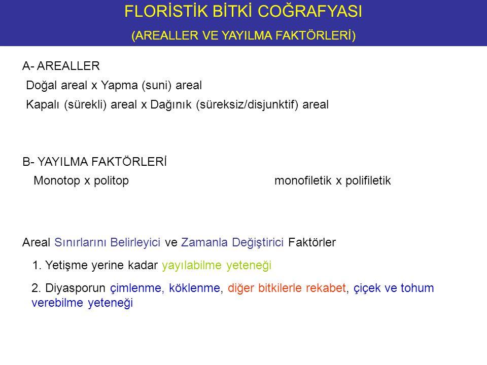 FLORİSTİK BİTKİ COĞRAFYASI (AREALLER VE YAYILMA FAKTÖRLERİ) B- YAYILMA FAKTÖRLERİ 2.