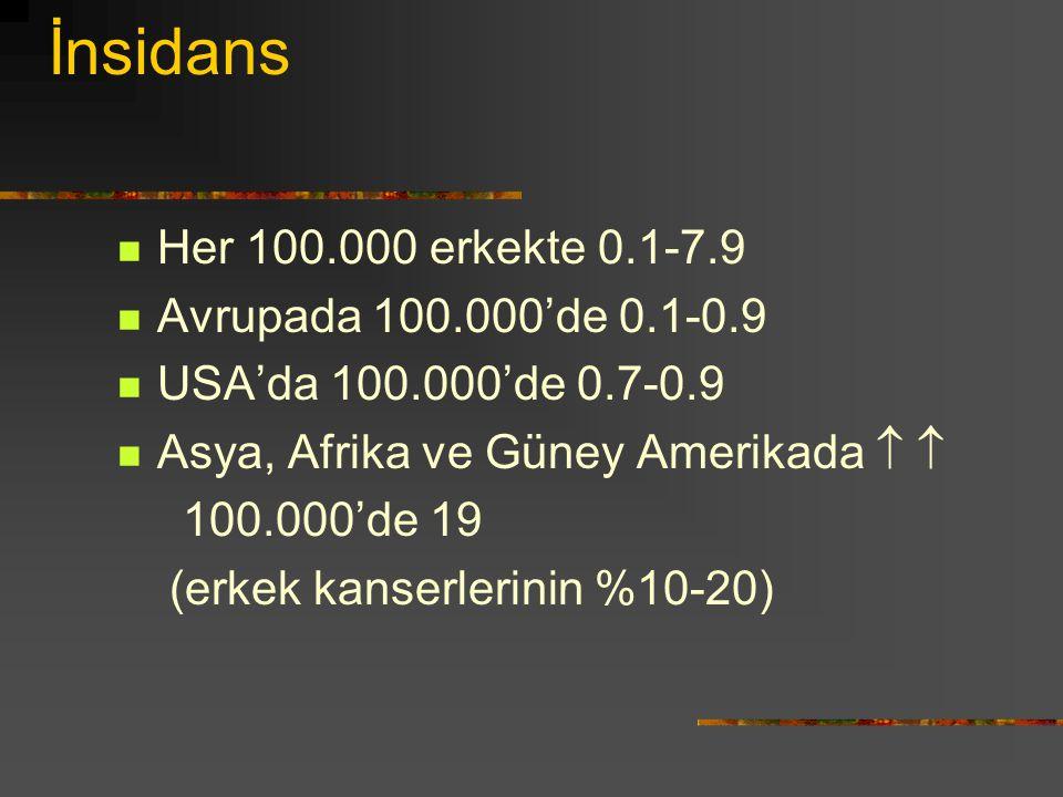 İnsidans Her 100.000 erkekte 0.1-7.9 Avrupada 100.000'de 0.1-0.9 USA'da 100.000'de 0.7-0.9 Asya, Afrika ve Güney Amerikada   100.000'de 19 (erkek ka