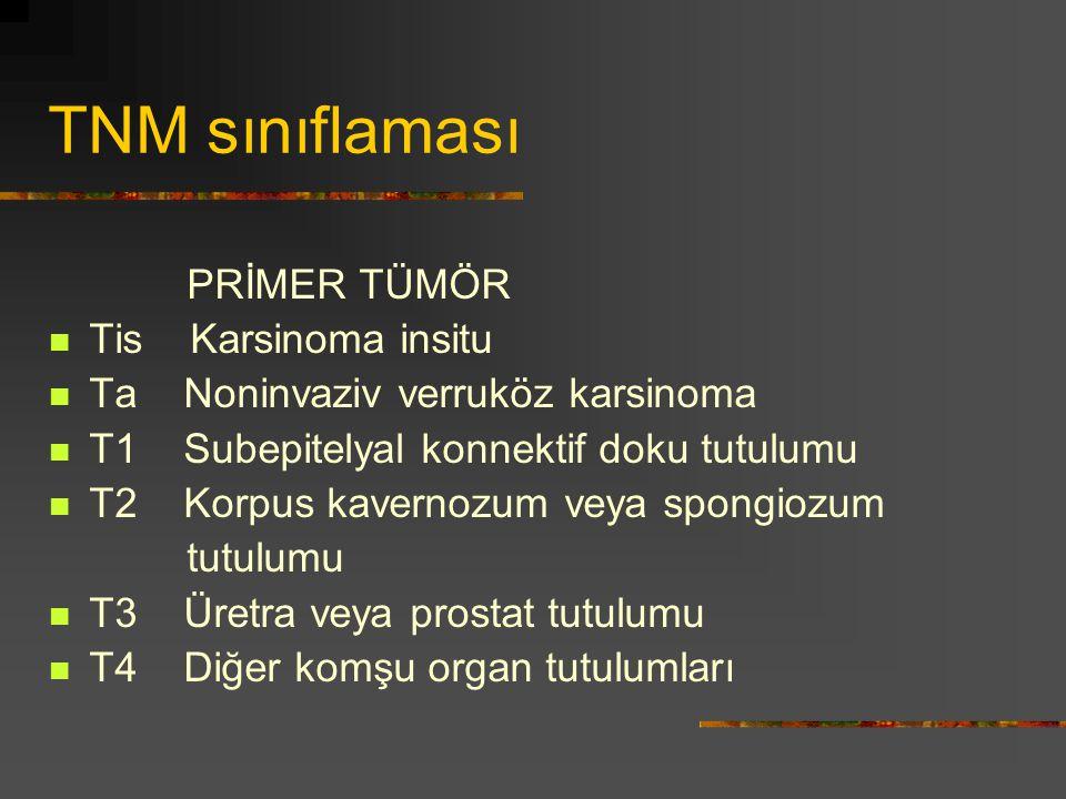 TNM sınıflaması PRİMER TÜMÖR Tis Karsinoma insitu Ta Noninvaziv verruköz karsinoma T1 Subepitelyal konnektif doku tutulumu T2 Korpus kavernozum veya s
