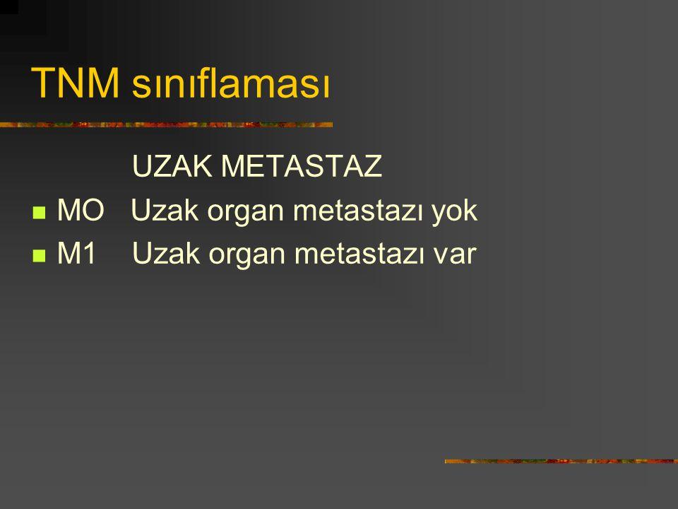 TNM sınıflaması UZAK METASTAZ MO Uzak organ metastazı yok M1 Uzak organ metastazı var