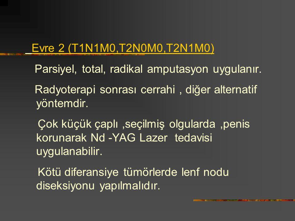 Evre 2 (T1N1M0,T2N0M0,T2N1M0) Parsiyel, total, radikal amputasyon uygulanır. Radyoterapi sonrası cerrahi, diğer alternatif yöntemdir. Çok küçük çaplı,