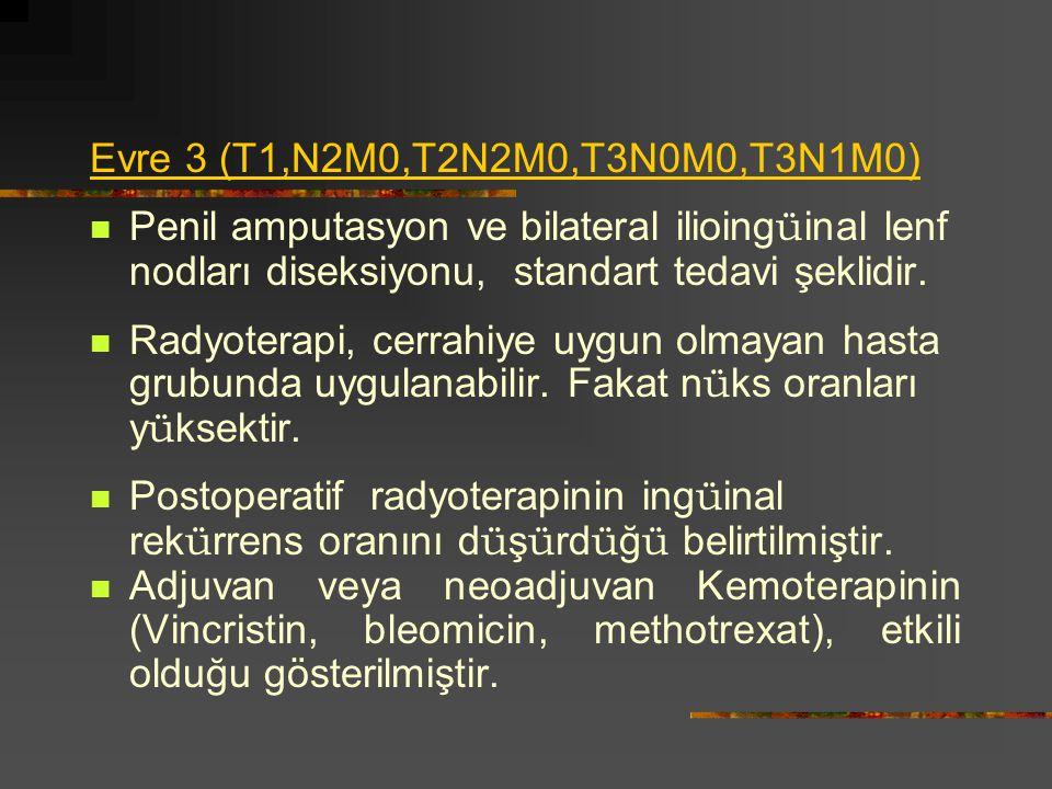 Evre 3 (T1,N2M0,T2N2M0,T3N0M0,T3N1M0) Penil amputasyon ve bilateral ilioing ü inal lenf nodları diseksiyonu, standart tedavi şeklidir. Radyoterapi, ce