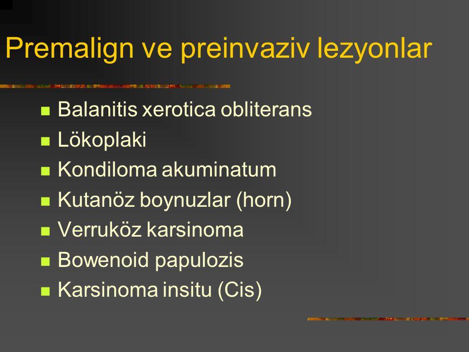 Premalign ve preinvaziv lezyonlar Balanitis xerotica obliterans Lökoplaki Kondiloma akuminatum Kutanöz boynuzlar (horn) Verruköz karsinoma Bowenoid pa
