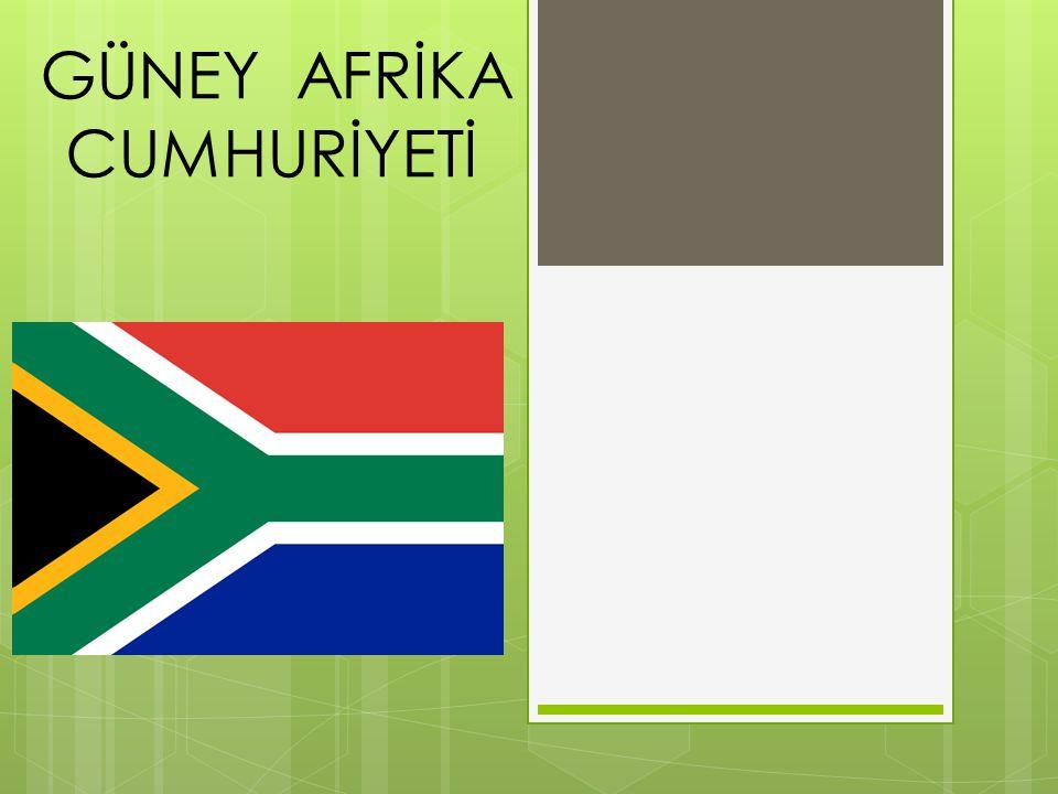 BAŞLICA ÖZELLİKLERİ BAŞKENT Cape town Pretoria, Bloemfontein YÜZÖLÇÜMÜ 1.219.912 km2 NÜFUSU 49.052.489 RESMİ DİLİ 11 resmi dil PARA BİRİMİ Rand