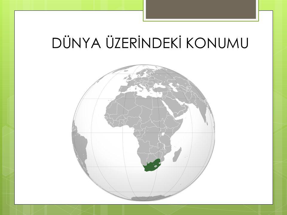 Güney Afrika cumhuriyeti Afrika kıtasının en güney ucunda bulunan bir ülkedir.Güneybatısında Atlas okyanusu Güneydoğusunda Hint okyanusu vardır.Kuzeyde Namibia Botswana ve Zimbabwe, Kuzeybatısında Mozambik ve Swaziland bulunmaktadır.Doğusunda bulunan Lesotho ise tamamen ülke sınırları içinde kalmıştır.
