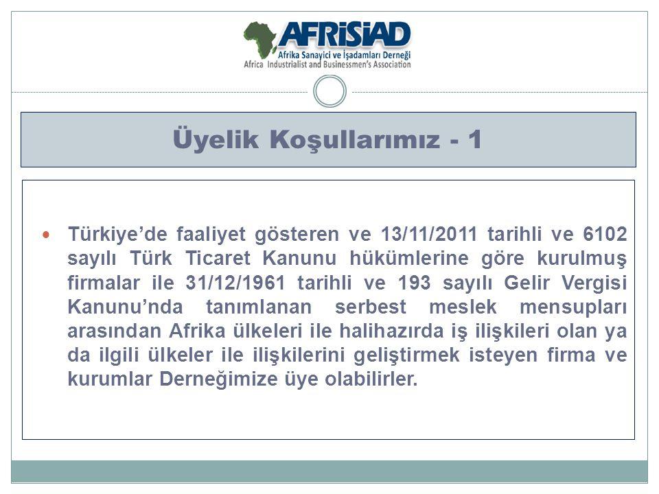 Üyelik Koşullarımız - 1 Türkiye'de faaliyet gösteren ve 13/11/2011 tarihli ve 6102 sayılı Türk Ticaret Kanunu hükümlerine göre kurulmuş firmalar ile 3