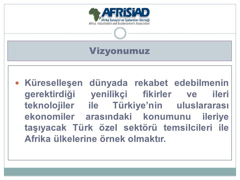 Misyonumuz Türkiye ile Afrika ülkeleri arasındaki ekonomik ve ticari ilişkilerin geliştirilmesi, yeni yatırım imkanlarının oluşturulması, Türk ve Afrikalı özel sektör temsilcilerine yol gösterilmesi, ikili ve çoklu işbirliklerinin oluşturulması ve Afrika ülkelerinde bulunan irtibat noktalarımızın sayısının artırılmasıdır.