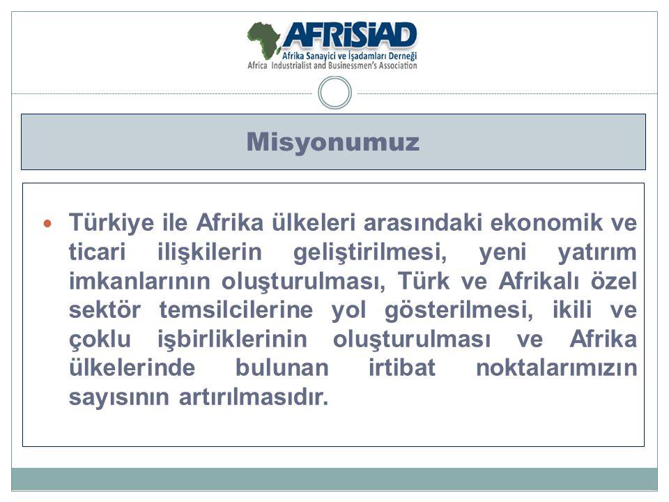 Misyonumuz Türkiye ile Afrika ülkeleri arasındaki ekonomik ve ticari ilişkilerin geliştirilmesi, yeni yatırım imkanlarının oluşturulması, Türk ve Afri