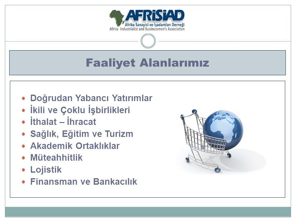 İletişim Ağımız Türk ve Afrikalı Kamu Temsilcileri Türk ve Afrikalı Özel Sektör Temsilcileri Türkiye ve Afrika Ülkelerinde Faaliyet Gösteren Ticaret Odaları Yurtiçi ve Yurtdışı Temsilciliklerimiz Üniversiteler Yurtiçi ve Yurtdışında Faaliyet Gösteren İş Dernekleri