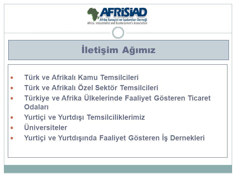 İletişim Ağımız Türk ve Afrikalı Kamu Temsilcileri Türk ve Afrikalı Özel Sektör Temsilcileri Türkiye ve Afrika Ülkelerinde Faaliyet Gösteren Ticaret O