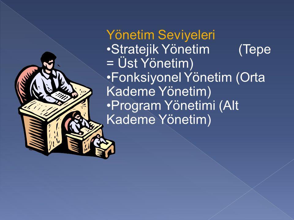 Yönetim Seviyeleri Stratejik Yönetim (Tepe = Üst Yönetim) Fonksiyonel Yönetim (Orta Kademe Yönetim) Program Yönetimi (Alt Kademe Yönetim)