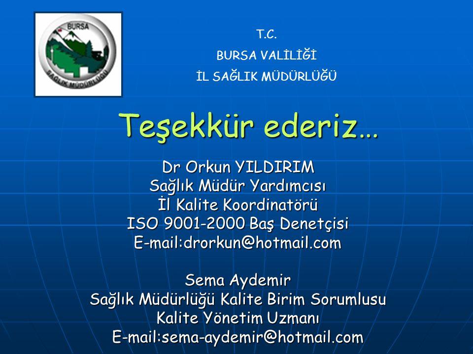 Teşekkür ederiz… Dr Orkun YILDIRIM Sağlık Müdür Yardımcısı İl Kalite Koordinatörü ISO 9001-2000 Baş Denetçisi E-mail:drorkun@hotmail.com Sema Aydemir