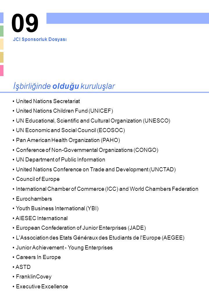 09 İşbirliğinde olduğu kuruluşlar United Nations Secretariat United Nations Children Fund (UNICEF) UN Educational, Scientific and Cultural Organizatio