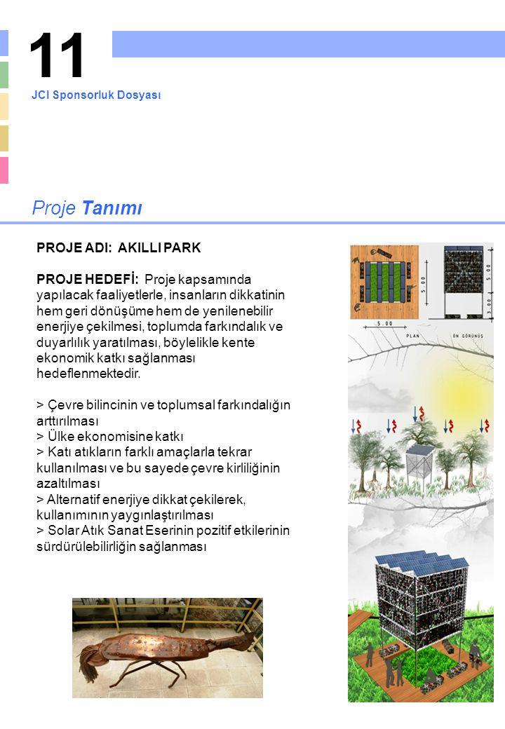 11 Proje Tanımı PROJE ADI: AKILLI PARK PROJE HEDEFİ: Proje kapsamında yapılacak faaliyetlerle, insanların dikkatinin hem geri dönüşüme hem de yenilene