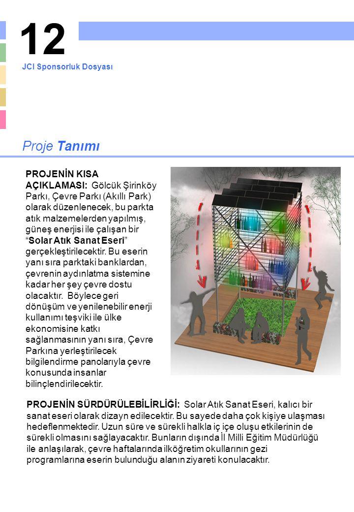 12 Proje Tanımı PROJENİN KISA AÇIKLAMASI: Gölcük Şirinköy Parkı, Çevre Parkı (Akıllı Park) olarak düzenlenecek, bu parkta atık malzemelerden yapılmış,