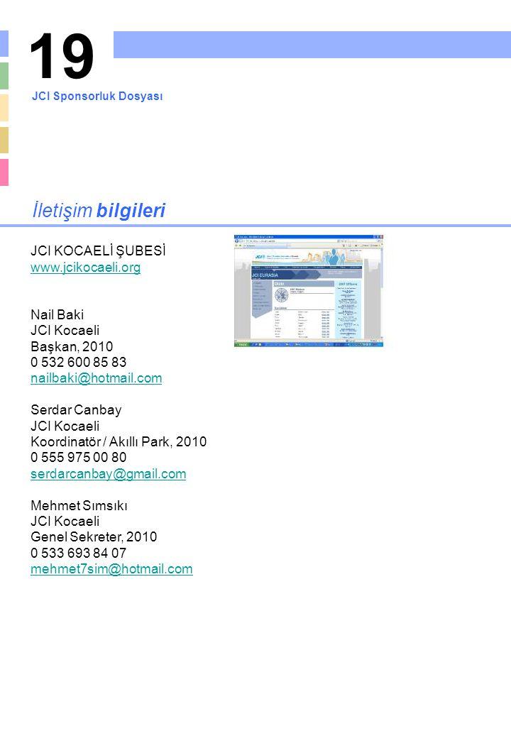 19 İletişim bilgileri JCI KOCAELİ ŞUBESİ www.jcikocaeli.org Nail Baki JCI Kocaeli Başkan, 2010 0 532 600 85 83 nailbaki@hotmail.com Serdar Canbay JCI