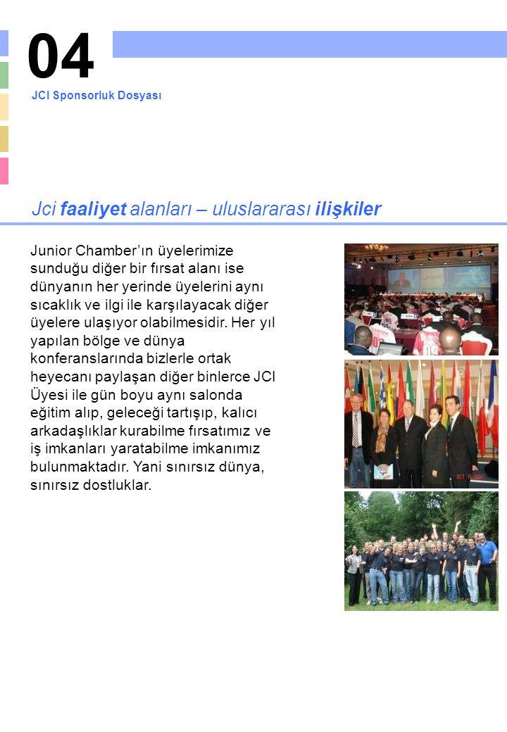 04 Jci faaliyet alanları – uluslararası ilişkiler Junior Chamber'ın üyelerimize sunduğu diğer bir fırsat alanı ise dünyanın her yerinde üyelerini aynı