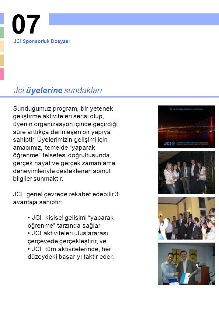 07 Jci üyelerine sundukları Sunduğumuz program, bir yetenek geliştirme aktiviteleri serisi olup, üyenin organizasyon içinde geçirdiği süre arttıkça de