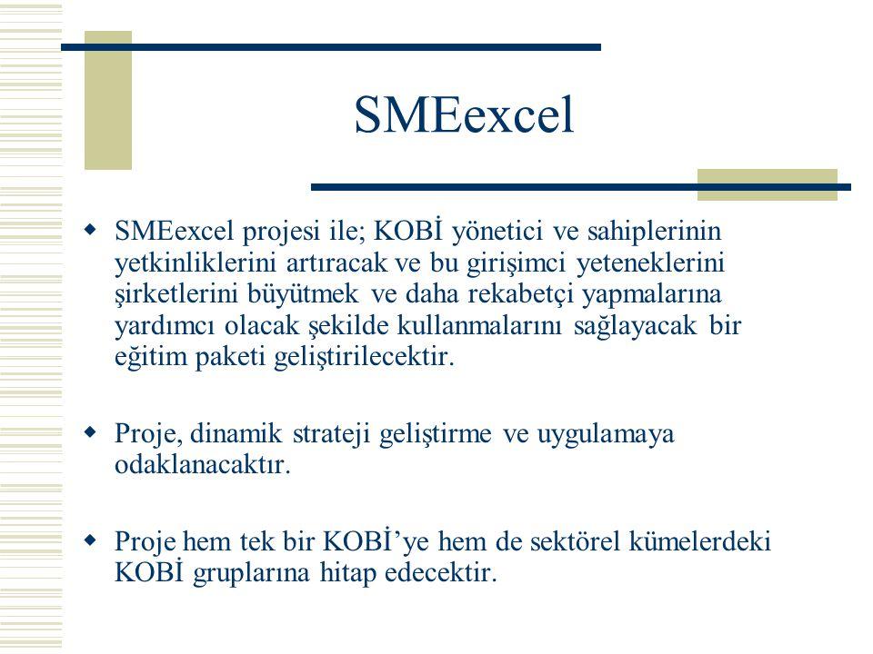 SMEexcel  SMEexcel projesi ile; KOBİ yönetici ve sahiplerinin yetkinliklerini artıracak ve bu girişimci yeteneklerini şirketlerini büyütmek ve daha rekabetçi yapmalarına yardımcı olacak şekilde kullanmalarını sağlayacak bir eğitim paketi geliştirilecektir.