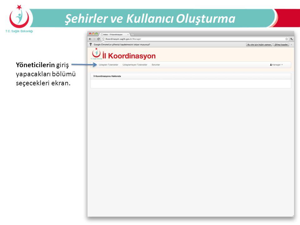 Şehirler ve Kullanıcı Oluşturma Yöneticilerin giriş yapacakları bölümü seçecekleri ekran.